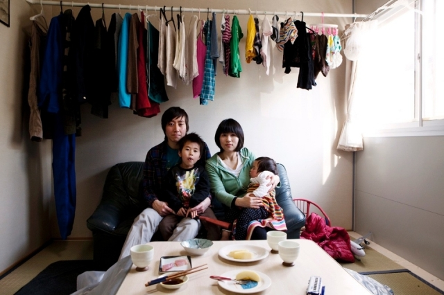 The Asanuma family were driven by the tsunami from their family home in Ishinomaki, Miyagi, and have taken refuge in a temporary residence.