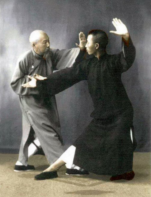 Chen Wei Ming practices applications of Yang taijiquan with Leung KingYu