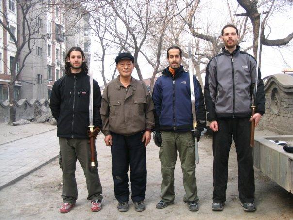 Jonathan Bluestein (left ) + Nitzan Oren,   Pigua master Pang Zhiqi + gongfu brother