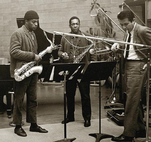 QArchie Sepp, Trane & Bob Thiele at the recording of 'A Love Supreme'.