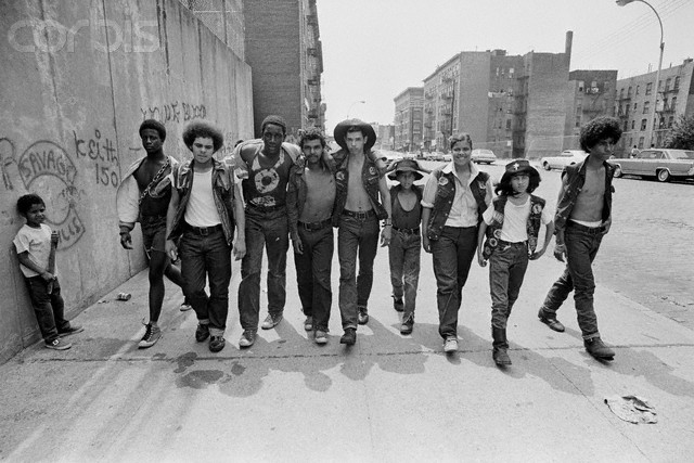 July 1972, The Bronx, New York City, New York State, USA --- Members of the New York street gang Savage Skulls. The trademark of the, primarily Puerto Rican, gang was a sleeveless denim jacket with a skull and crossbones design on the back. Based around Fox Street, in the popular South Bronx neighbourhood, the gang declared war on the drug dealers that operated in the area. Running battles were frequent with rival gangs Seven Immortals, and Savage Nomads. Image by © JP Laffont/Sygma/Corbis